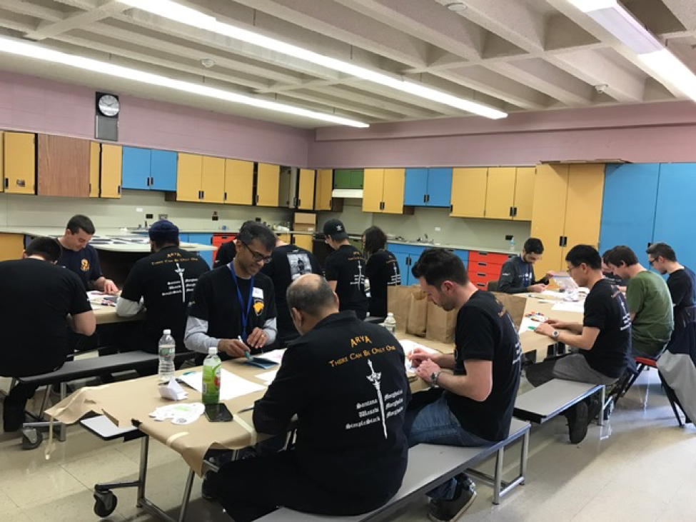Audible web team making snack bags for students