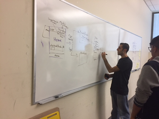 Audible employee discussing ideas with student on whiteboard