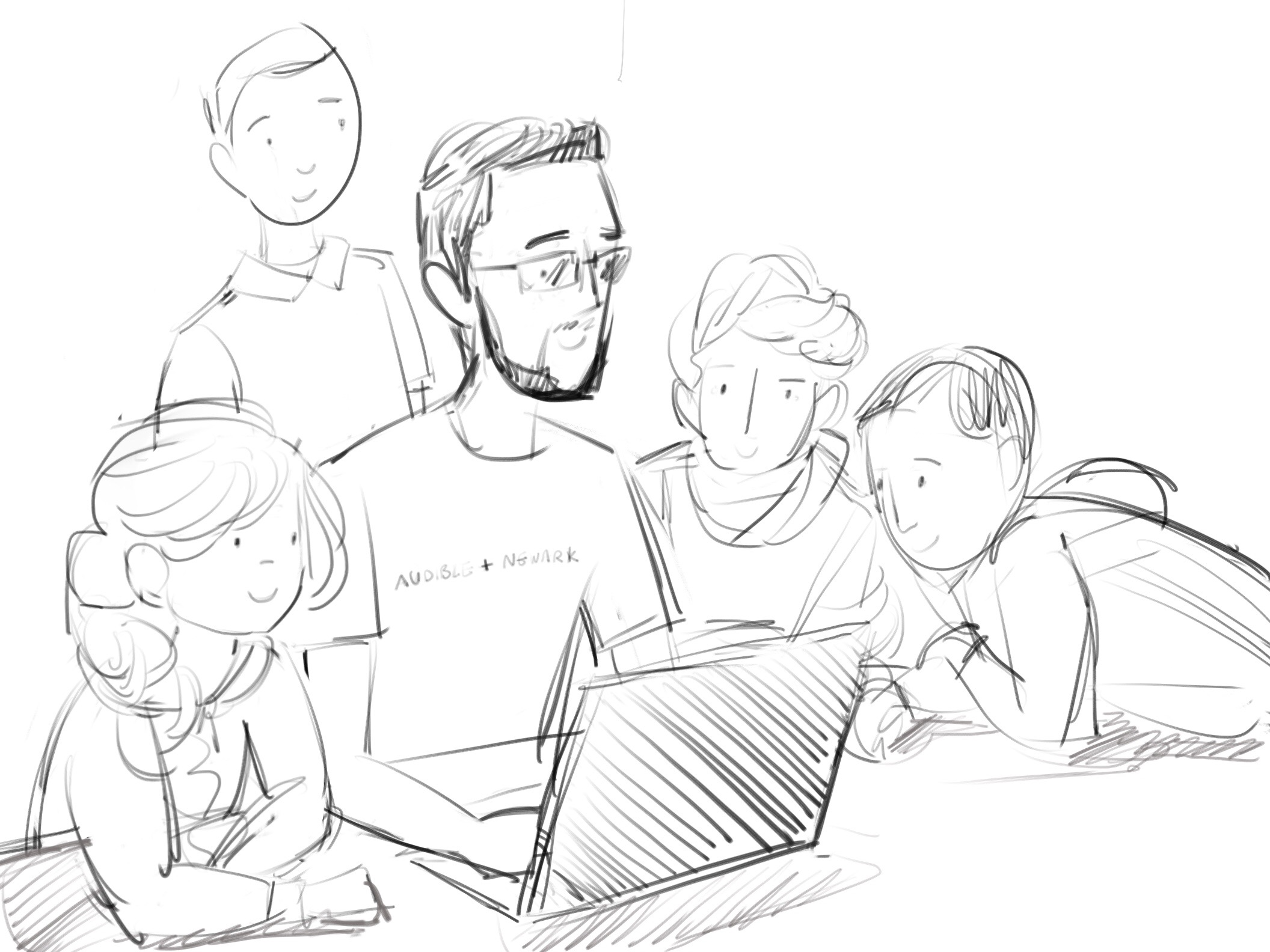 Illustration of Audible employee mentoring students
