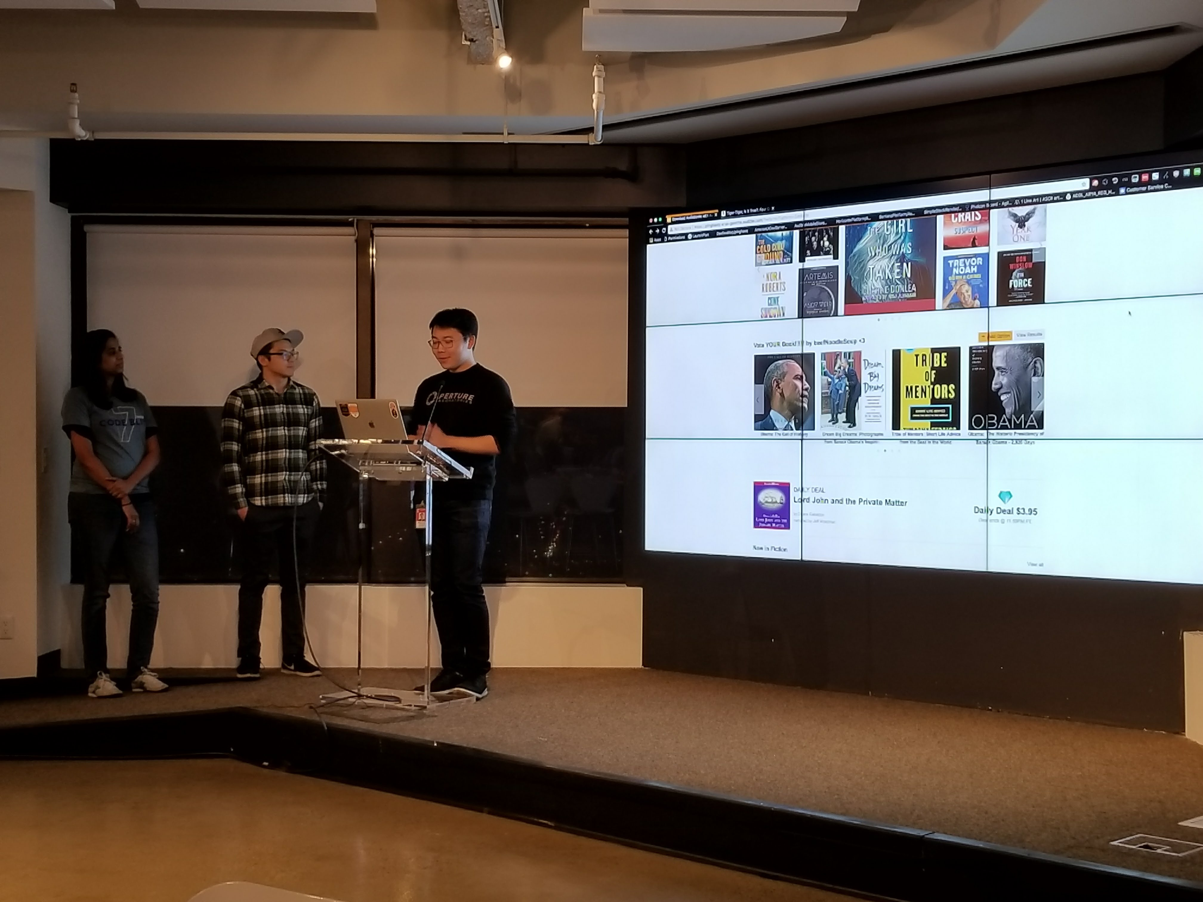 More Audible employees presenting their hackathon idea