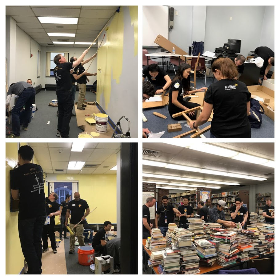 Audible Core Engineering team members painting walls, assembling furniture and organizing books in the library