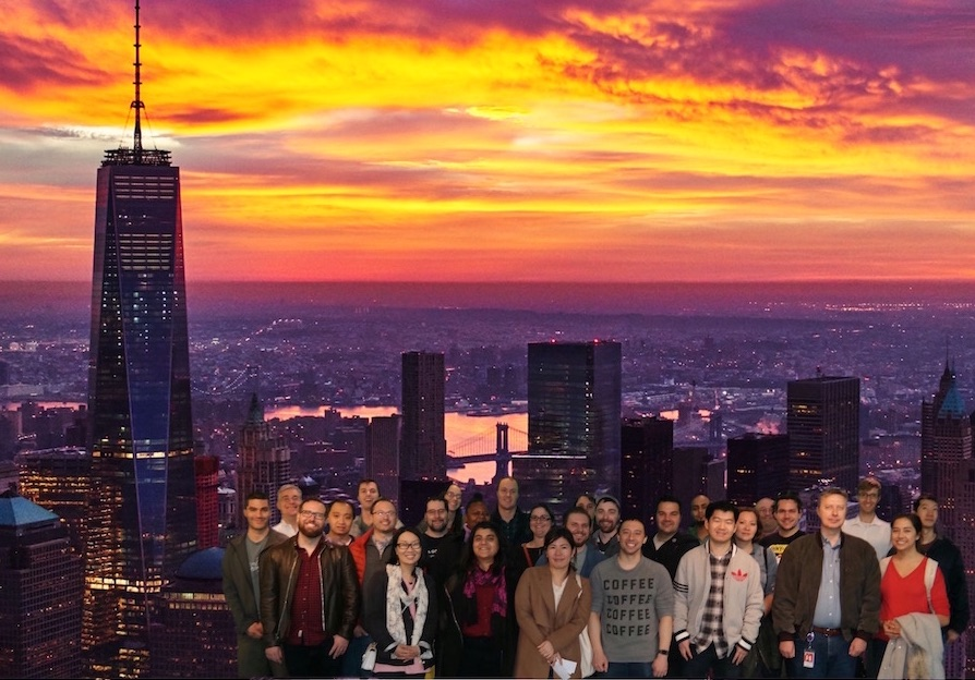 Audible Education Team photo with New York skyline