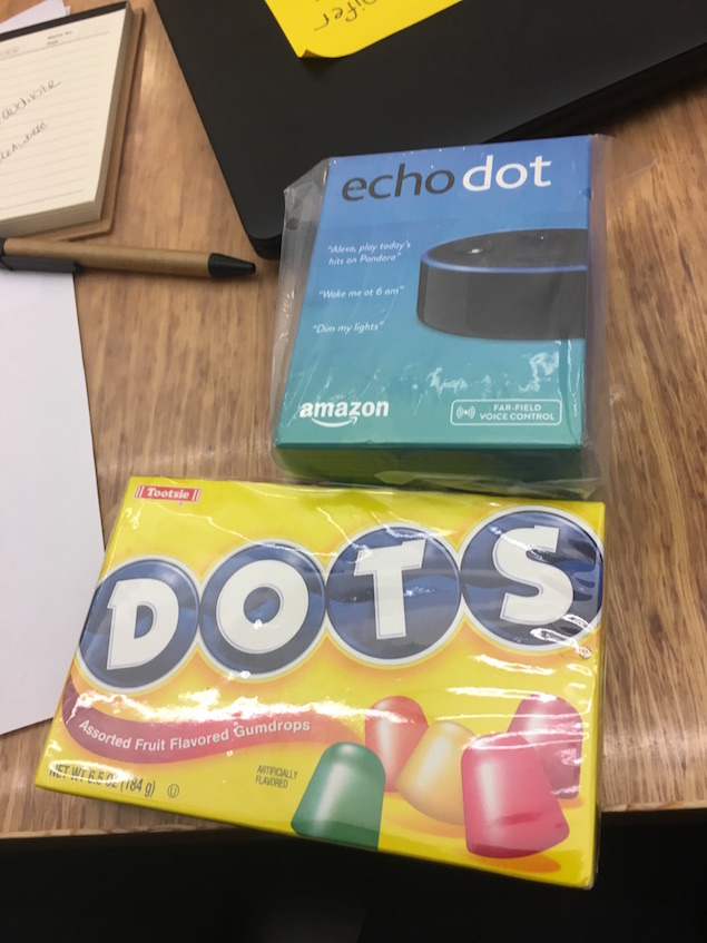 Amazon Echo Dot and the candy Dots