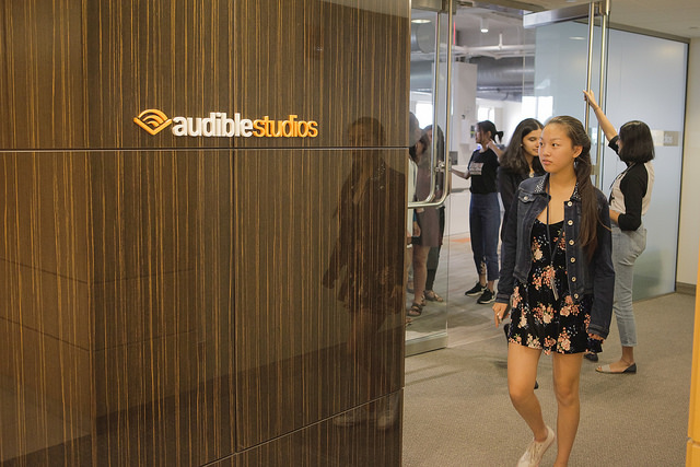 Student entering Audible Studios