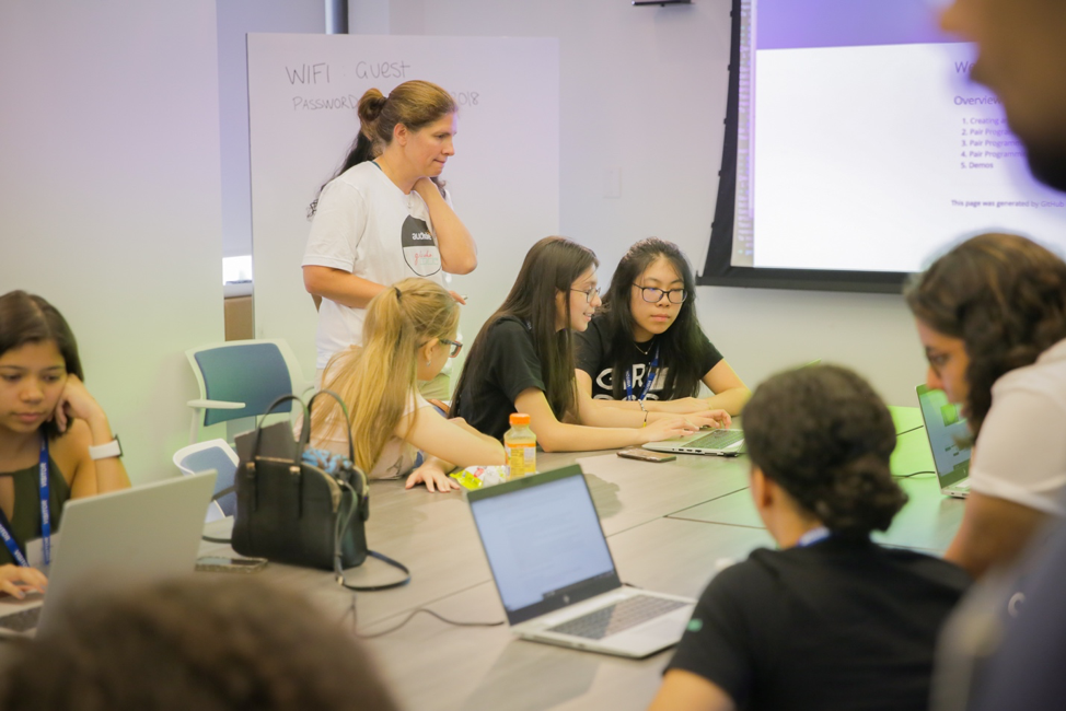 Photo of students and Audible employees working on the Alexa skills exercise together