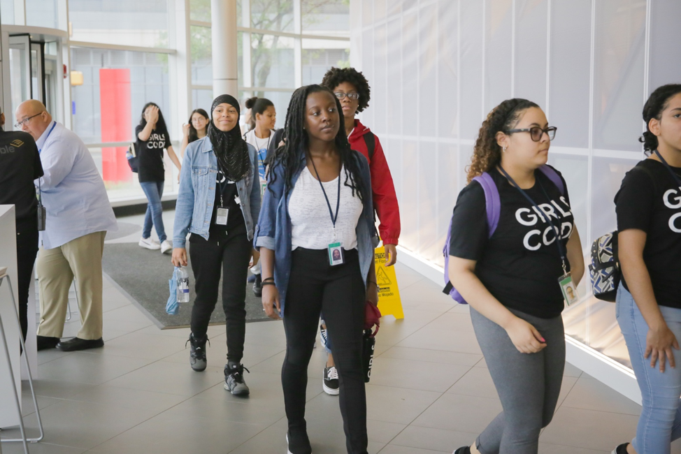 Photo of students from Girls Who Code visiting Audible